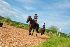 Dziewczyna I młoda kobieta Z Ich koniami obraz royalty free