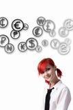 Dziewczyna i monety różni kraje zdjęcie royalty free