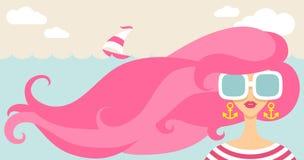Dziewczyna i morze wiatr Obraz Royalty Free