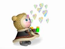 Dziewczyna i mydlani bąble w formie serce Obraz Stock