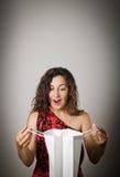 Dziewczyna i papierowa torba Zdjęcie Stock