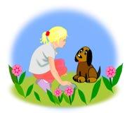 Dziewczyna i Pies Fotografia Royalty Free