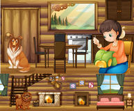 Dziewczyna i psy w różnych pokojach w domu ilustracja wektor