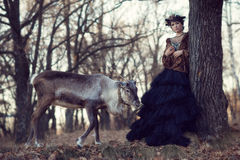 Dziewczyna i rogacz w lesie Zdjęcia Stock