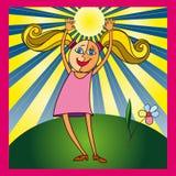 Dziewczyna i słońce ilustracja wektor