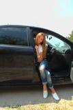Dziewczyna i samochód Obraz Royalty Free