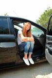 Dziewczyna i samochód Fotografia Stock