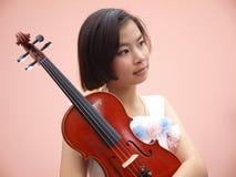 Dziewczyna i skrzypce Obraz Stock