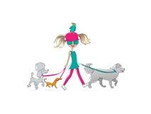 Dziewczyna i zwierzęta domowe ilustracja wektor