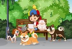 Dziewczyna i zwierzę domowe w parku Zdjęcia Royalty Free