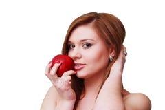 dziewczyna jabłczany portret Fotografia Royalty Free