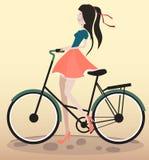 Dziewczyna jeździecki bicykl Zdjęcia Stock