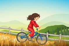 Dziewczyna jechać na rowerze przy gospodarstwem rolnym ilustracji