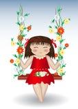 Dziewczyna jedzie na huśtawce z kwiatami Obrazy Royalty Free