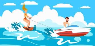 Dziewczyna jedzie Wodnego narciarstwo również zwrócić corel ilustracji wektora ilustracji