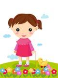 dziewczyna jej mała zabawka ilustracji