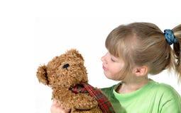 dziewczyna jej mały teddy Zdjęcia Stock