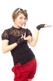 dziewczyna jej miłe posiada palmowego show Fotografia Stock