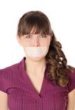 dziewczyna jej usta pieczętująca taśma Obrazy Royalty Free