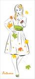 dziewczyna jesienni liść ilustracja wektor