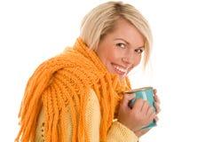 dziewczyna jesienny kubek obrazy stock