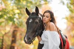 Dziewczyna jest blisko konia Patrzeje konia W parku w spadku Obrazy Royalty Free