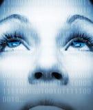 dziewczyna jest cyber twarzy Fotografia Royalty Free