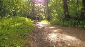 Dziewczyna jest skokowym arkaną w parku Młoda dziewczyna robi sportom w lesie zbiory
