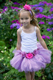 Dziewczyna jest ubranym baletniczą spódniczkę baletnicy. Zdjęcia Stock