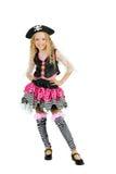 Dziewczyna jest ubranym pirata kostium dla Halloween Fotografia Stock