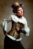 Dziewczyna Jest ubranym Steampunk kapeluszu wiktoriański Fotografia Royalty Free