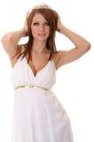 Dziewczyna Jest ubranym tiarę odizolowywającą nad bielem obrazy royalty free