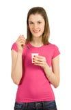 dziewczyna jogurt odosobniony biały Obraz Royalty Free