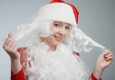 dziewczyna kapelusz jest Santa Zdjęcia Royalty Free