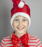 dziewczyna kapeluszowy czerwony Santa obraz royalty free