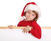 dziewczyna kapeluszowy mały Santa Obraz Royalty Free
