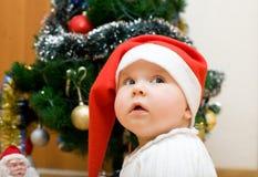 dziewczyna kapeluszowy mały czerwony Santa Zdjęcie Royalty Free