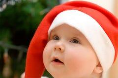 dziewczyna kapeluszowy mały czerwony Santa Fotografia Royalty Free