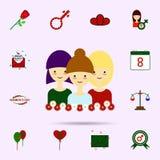 Dziewczyna, kobieta dzie?, trzy, stokrotka koloru ikona Og?lnoludzki ustawiaj?cy 8 marsz dla strona internetowa projekta i rozwoj ilustracja wektor