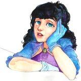 Dziewczyna, kobiety, sztuka ilustracyjna, ładny, akwarela royalty ilustracja