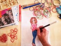 Dziewczyna kolory i remisy obrazy royalty free