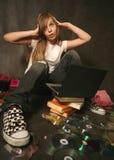 dziewczyna komputerowa Zdjęcie Royalty Free