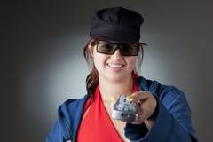 dziewczyna kontrolny pilot Fotografia Stock