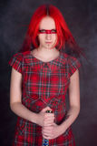dziewczyna kordzik włosiany czerwony zdjęcia stock
