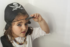 dziewczyna kostiumowy pirat Obraz Royalty Free
