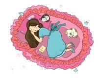 Dziewczyna, koty i pies, śpimy w łóżku Wektorowa ilustracja z ptakami i kwiatami Obrazy Stock