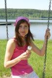 dziewczyna kremowy lodu Zdjęcia Royalty Free
