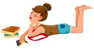 dziewczyna książkowy odpoczynek ilustracji