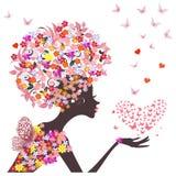 Dziewczyna kwiatu wektor Zdjęcia Stock