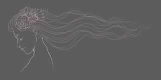 Dziewczyna kwiecisty kreskowy negatyw Fotografia Royalty Free